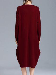 Burgundy Asymmetrical Casual Midi Dress