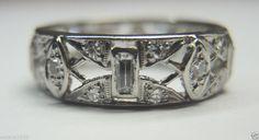 Antique Diamond Wedding Band Ring Eternity Vintage Platinum Estate RARE Art Deco