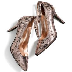 """A sassy ankle strap and edgy metallic crackle finish? If these heels are any indication, pointy-toed pumps aren't just back in vogue, they're also cooler than ever! Faux leather. 3 1/2"""" heel. order at: www.youravon.com/lindamartinez"""