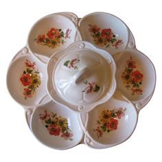 Vintage California Pottery White Floral Lazy Susan from WhimsicalVintage Exclusively on Ruby Lane