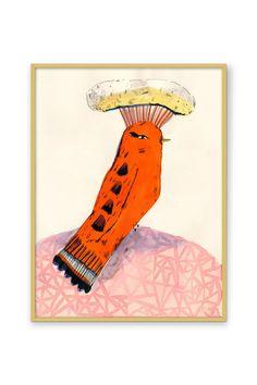 Orange Bird Wall Art   Anthropologie Orange Bird, Bird Wall Art, Gouache, Custom Framing, Color Schemes, Whimsical, Gallery Wall, Watercolor, Spring