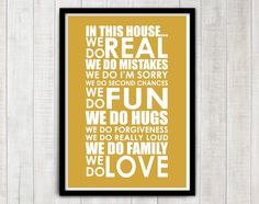 "Poster mit Spruch ""in this house"" // poster with writing by Simple Life Design via DaWanda.com"