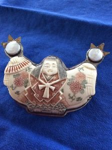 """Unsigned Sajen Sterling Silver Hand Etche 4"""" Geisha Carved Shell Pendant Brooch    eBay"""
