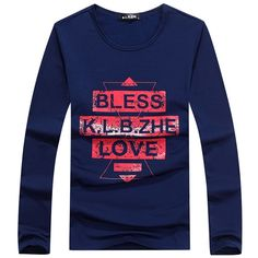 Fabric Material:95%Polyster+5%Spandex Closure Type:Standard Style:Letters Printing Collar:0-Neck Sleeve Length: Long Sleeve Fit Type: Slim Fit Thickness:Standard Color: Black, Blue, White Occasion:Casual, Fashion, OutdoorSeason: Spring,Autumn, Winter Tag Size: L, XL, 2XL, 3XL, 4XL Package included: 1* T-shirt Please Note:  1.Please see the Size Reference to find the correct size.