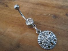 Belly Button Ring - Body Jewelry - Silver Sand Dollar with Clear Gem Stones Belly Button Ring on Etsy, $9.00