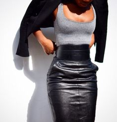 Sexy leather skirt & belt