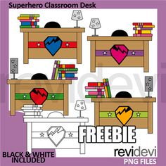 Free clipart Superhero Classroom Desk by REVIDEVI. Enjoy this freebie! This clip art pack features cool superhero desks. You will get 4 color graphics and 2 in black and white outline. YOUR RATING and COMMENT is highly appreciated. If want to get more similar Classroom Desk, Superhero Classroom, Classroom Projects, Fun Projects, Superhero Writing, Teachers Pay Teachers Free, Classroom Clipart, Easel Activities, Spanish Class