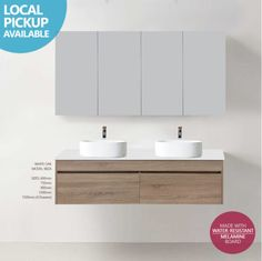 IBIZA | 1500mm WHITE OAK Timber Wood Grain Wall Hung Double Vanity w Stone Top