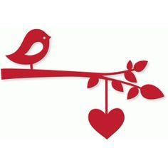 Silhouette Design Store - View Design bird branch w/heart string Bird Silhouette, Silhouette Cameo Projects, Silhouette Design, Bird Crafts, Paper Crafts, Kirigami, Bird Template, Laser Art, Silhouette Online Store