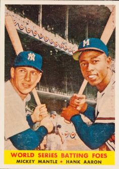 1958 Topps * 418 World Series Batting Foes Mickey Mantle/Hank Aaron New York/Milwaukee Yankees/Braves Baseball Card Deans Cards 3 VG Yankees/Braves -- To view further for this item, visit the image link-affiliate link. Braves Baseball, Baseball Players, Baseball Card Values, Baseball Cards, Baseball Photos, Football Cards, Hank Aaron, Willie Mays, Mickey Mantle
