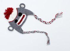 Baby Sock Monkey Hat, Baby Animal Hat. Baby, Monkey Hat, Baby Shower Gift., for boy or girl.