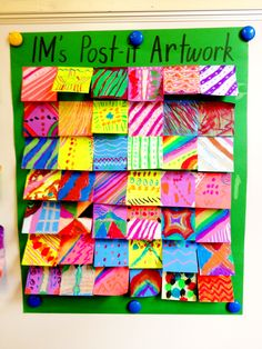 Post it ART WORK is so cute and creative! Love the idea. Collaborative post it art. gives me an idea Group Art Projects, Collaborative Art Projects, School Art Projects, Arte Post It, Post It Art, Art Doodle, Ecole Art, Art Lessons Elementary, Middle School Art