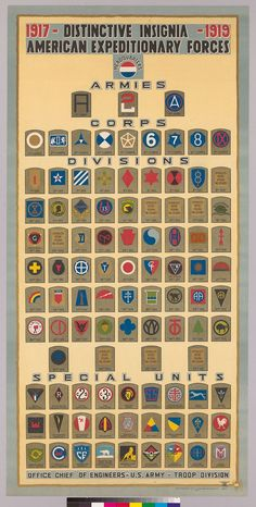 Military | WWI | American Expeditionary Forces US Unit Insignias