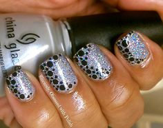 stamped black dots silver holo winter nails