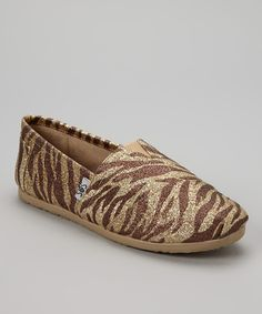Look at this #zulilyfind! Tan Zebra Shimmer Slip-On Shoe by Shoes of Soul #zulilyfinds