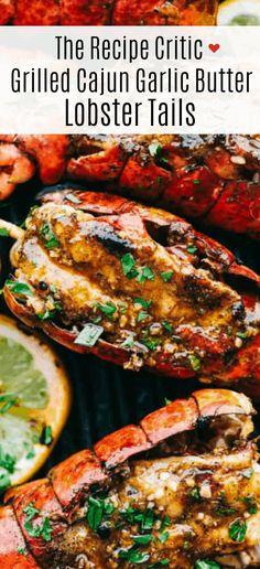 Lobster Dishes, Lobster Recipes, Fish Recipes, Seafood Recipes, Dinner Recipes, Grill Lobster Tail Recipe, Bbq Lobster Tails, Butter For Lobster, Seafood