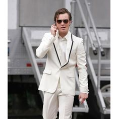 Mens White One Button Single Breasted Prom Wedding Suits Tuxedo SKU-123085