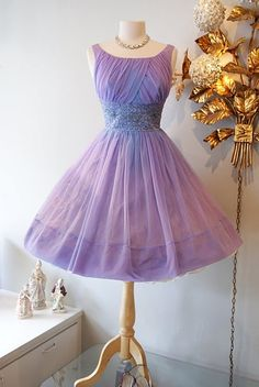 """Early 60s hydrangea party dress. If I had a 27"""" waist, I would buy this..."""