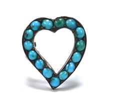 Georgian Persian Turquoise Witch's Heart - Sterling Silver on Etsy, $165.00