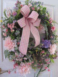 Country Garden Wreath, Front Door Wreath, Pink Peonies, Garden Tools, Spring-Summer Wreath, Mothers Day Gift, Wedding Wreath, Home Decor