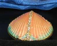 Seafoam Blue Seashell Jeweled Porcelain Hinged Trinket Box