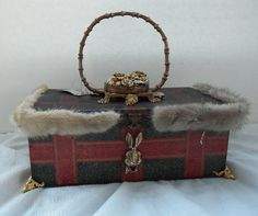 Metal steampunk purse, red n blue plaid box handbag trimmed with vintag fur and compact. RESERVED for eLLe