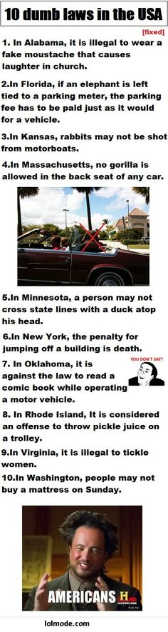10 dumb laws in the USA. Seriously, I wish they would post the stories on what happened to require laws like these to be enforced. Hey at least nothing about TN is on this list! In Laws Humor, Weird Laws, The Funny, Funny Laws, Quites, Have A Laugh, Just For Laughs, Fun Facts, Random Facts