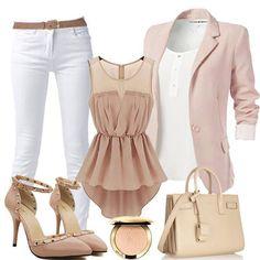 Summer Outfit Ideas! White + Light Pink Patchwork Irregular HiLo Swallowtail Sleeveless Top #White #Pink #Nude #Summer #Outfit #Ideas #Sexy #Heels #Chic #Style #Fashion