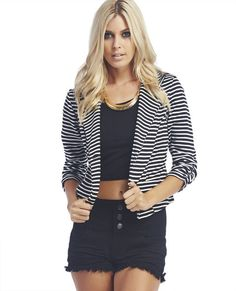 "<p>Stun+in+this+striped+print+blazer+that+adds+a+fun,+but+dressy+touch+to+an+outfit+with+its+ruched+cuff+3/4-sleeves,+open+front+with+a+slightly+longer+front+hem,+stylized+lapel+and+single+button+closure+at+the+front.+Jacket+has+slight+stretch+for+a+comfy+fit+and+is+unlined.</p>    <p>Model+is+5'9""+and+wears+a+size+small.</p>    <ul>  	<li>100%+Polyester</li>  	<li>Machine+Wash</li>  	<li>USA</li>  </ul>"