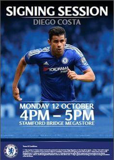DIEGO COSTA: 12 October 2015 Signing Session at Stamford Bridge Megastore