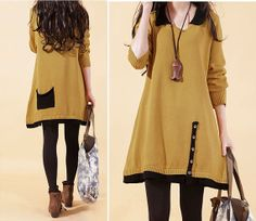 Spring winter long sleeve dress, casual dress,