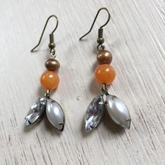 Handmade Potato Pearl, Orange and Pearl/Brass Accents Earrings ($10)