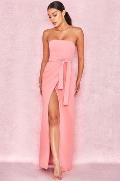 4d05e159848 HOUSE OF CB  Miranda  Pink Crepe Bandeau Maxi With Split M 10   12