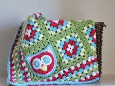 Owl Granny Square Baby Blanket  OOAK. $75.00, via Etsy.