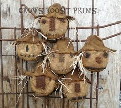 Price is for 1 SCARECROW HEAD. These are Made To Order. NEW FOR 2016 ********************** If you wanted 3 heads, price is $48-free shipping in the continental USA. --sold in another listing here on Etsy. https://www.etsy.com/listing/450722764/primitive-crows-roost-prims-set-of-3?ref=listing-shop-header-0 ********************** These are approx. 6 inches wide across the head-side to side and  5 inches high (head only-not including hat; with hat approx. 7 inches; with hat and rusty wire…