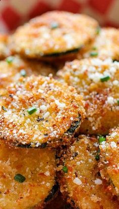 Zucchini Parmesan Crisps. So good I just made them! I used wheat flour and italian breadcrumbs instead.