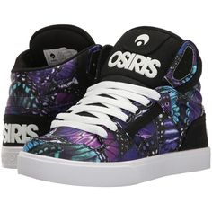 Osiris Clone (Butterfly) Women's Skate Shoes ($62) ❤ liked on Polyvore featuring shoes, hi top skate shoes, light weight shoes, faux leather shoes, hi tops and osiris shoes