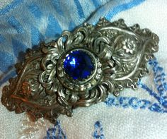 Art Nouveau Sterling Silver Sapphire Brooch by rankind on Etsy, $85.00