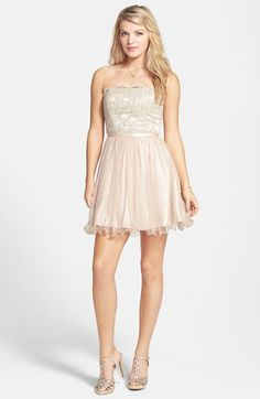 Check out my latest find from Nordstrom: http://shop.nordstrom.com/S/4050571 Hailey Logan 'Stacy' Strapless Glitter&  Lace Skater Dress (Juniors)  - Sent from the Nordstrom app on my iPhone (Get it free on the App Store at http://appstore.com/nordstrom