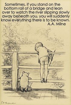 Sotheby's to Auction The Most Famous Book Illustration of the Century: E. Shepard's original ink drawing of Winnie-the-Pooh, Christopher Robin and Piglet on the 'Poohsticks' bridge From A. Milne's celebrated The House on Pooh Corner Winnie The Pooh Drawing, Winnie The Pooh Quotes, Winnie The Pooh Friends, Vintage Winnie The Pooh, Christopher Robin, Disney Art, Disney Pixar, Cartoon Kunst, Hundred Acre Woods