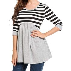 3041a43cae online shopping for Teewanna Womens Sleeve Peplum Tunic Tops Babydoll  Casual Striped Shirt With Ruffle Hem S-XXL from top store. See new offer  for Teewanna ...