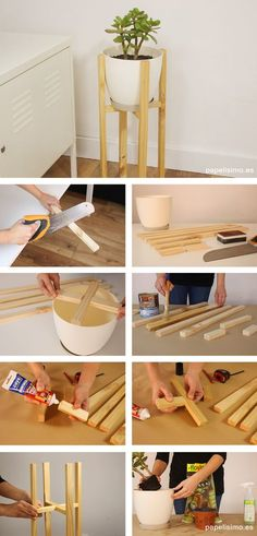 Cómo hacer macetero de madera diy wooden planter - Game Tutorial and Ideas Diy Wooden Planters, Wooden Diy, Diy Home Crafts, Diy Crafts To Sell, Diy Wood Projects, Woodworking Projects, Cheap Home Decor, Diy Home Decor, Diy Para A Casa
