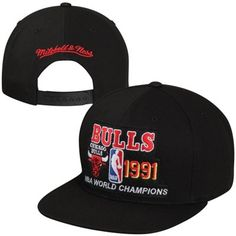 amp; Snapback Bulls Champions Ness Mitchell NBA Black Chicago Hat 1991 fdFxnqw
