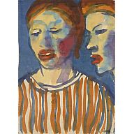 Two Girls 1910–1934  Emil Nolde   German, 1867–1956  watercolor  image: 18 5/8 x 13 1/2 in. (47.3 x 34.3 cm) sheet: 18 5/8 x 13 1/2 in. (47.3 x 34.3 cm) framed: 29 1/8 x 23 1/8 in. (74 x 58.7 cm)  Gift of Morton D. May  Accession Number: 371:1955  On View, Gallery 235  Signed:  on recto, l.r., in black ink: Nolde.