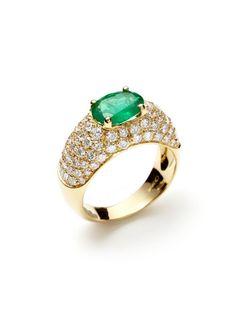 Oval Cut Emerald & Pave Diamond Ring