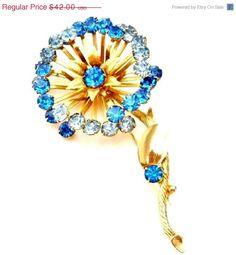 Blue Rhinestone Flower Brooch Vintage Large Pin Gold Prong Set