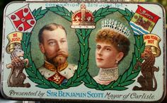 Immaculate 1911 George V Coronation chocolate tin by Tinternet presented by Mayor of Carlisle.