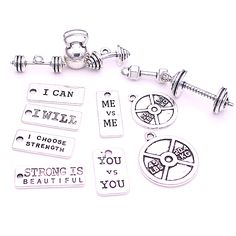 26pcs strength tags Kettle bell dumbbell barbell weight mix charms Sport charm Fit DIY Fitness Necklace Jewelry Making  H3010-1