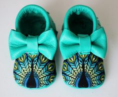 Peacock bow moccs baby toddler moccasins clothes shoes baby shower ideas baby food maternity baby girl announcement milestones breastfeeding 1st birthday first birthday