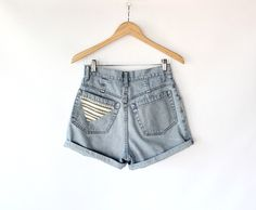 Vintage 90s Esprit High Waisted Blue Denim Shorts with Woven Pocket Patch. $40.00, via Etsy.